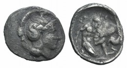 Southern Lucania, Herakleia, c. 433-330 BC. AR Diobol (12mm, 1.09g, 3h). Head of Athena r., wearing crested helmet, decorated with hippocamp. R/ Herak...