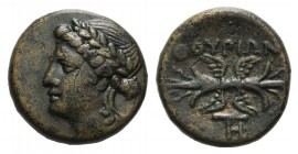 Southern Lucania, Thourioi, c. 280-213 BC. Æ (14mm, 3.20g, 9h). Laureate head of Apollo l. R/ Winged thunderbolt; monogram below. HNItaly 1927; SNG Co...