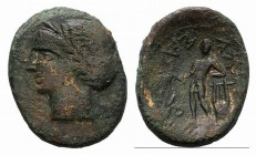 Sicily, Alaisa Archonidea, c. 208-186 BC. Æ (22mm, 5.22g, 12h). Laureate head of Apollo l. R/ Apollo standing l., holding laurel branch and leaning up...