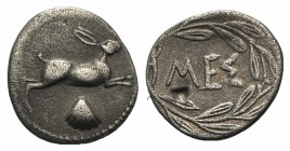 Sicily, Messana, c. 420-413 BC. AR Litra (12mm, 0.66g, 11h). Hare springing r.; scallop shell below. R/ MEΣ within wreath. SNG ANS 348-9; HGC 2, 817. ...