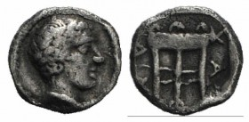 Macedon, Chalkidian League, c. 425-420 BC. AR Obol (10mm, 0.53g, 12h). Olynthos. Laureate head of Apollo r. R/ Tripod within incuse square. Unpublishe...