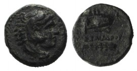 "Kings of Macedon, Alexander III ""the Great"" (336-323 BC). Æ 1/4 Unit (10mm, 1.36g, 12h). Uncertain mint in Macedon. Head of Herakles r., wearing lion ..."