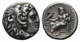 Kings of Macedon, Philip III (323-317 BC). AR Drachm (15mm, 4.22g, 1h). In the name of Alexander III. Sardes, c. 323/2 BC. Head of Herakles r., wearin...