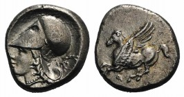 Corinth, c. 345-307 BC, AR Stater (19mm, 8.28g, 6h). Pegasos flying l. R/ Head of Athena l., wearing Corinthian helmet; in r. field, wreath. Pegasi 40...