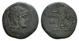 Pontos, Amisos, time of Mithradates VI, c. 85-65 BC. Æ (29mm, 19.26g, 12h). Helmeted head of Athena r. R/ Perseus standing facing, holding harpa and h...