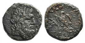 Pontos, Amisos, time of Mithradates VI, c. 85-65 BC. Æ (19mm, 8.44g, 12h). Laureate head of Zeus r. R/ Eagle standing l., head r., on thunderbolt; mon...