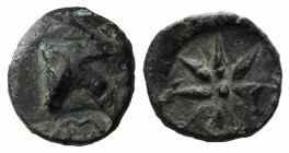 Pontos, Uncertain (Amisos?), c. 130-100 BC. Æ (21mm, 5.18g). Quiver; c/m: bow within oval incuse. R/ Eight-pointed star; bow to r. HGC 7, 311. Green p...
