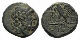 Bithynia, Dia, c. 85-65 BC. Æ (20mm, 8.60g, 12h). Laureate head of Zeus r. R/ Eagle standing l., head r., on thunderbolt; monograms flanking. HGC 7, 4...