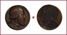 Austria, Ferdinand I (1521-1564), CONTEMPORARY CAST uniface bronze medal, undated, 13,42 gr., 36 mm, Elected Emperor 1556, bust right/incuse, Donebaue...