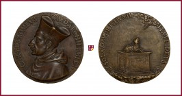 Milan, Carlo Borromeo (1538-1584), cardinal and archbishop of Milan, CONTEMPORARY CAST bronze medal, 40.2 gr., 50 mm, bust left/lamb on altar. • TA • ...