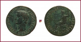 Tiberius (14-37), CONTEMPORARY cast bronze medal in a form of Roman As, 13,47 g Cu/Ae, 35 mm, TI. CAESAR DIVI AVG P AVGVST. IMP. VIII, head left/CIVIT...
