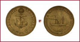 Austria, Franz Joseph I (1848-1916), Triest, ORIGINAL CAST brass medal, (1853), 72,56 g Cu/Ae, 67 mm, Austrian Lloyd and Steamship Naval Traffic, stea...