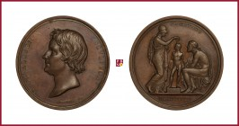 Denmark, Bertel Thorvaldsen (1770-1844), sculptor, bronze medal, 1832, 70,24 g Cu/Ae, 54 mm, opus: G. Galeazzi, head left/Athena and a man seated; Pro...