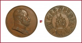 Germany, Prussia, Wilhelm I (1871-1888), copper medal, 1871, 287,88 g Cu, 85 mm, opus: F. W. Kullrich, Entrance of Victorious Wilhelm I and His Army i...
