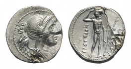 Bruttium, The Brettii, c. 216-214 BC. AR Drachm (18mm, 4.35g, 6h). Second Punic War issue. Diademed and draped bust of Nike r.; amphora behind. R/ Riv...