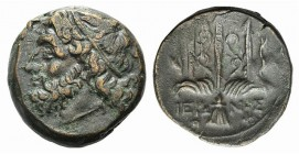 Sicily, Syracuse. Hieron II (274-216 BC). Æ (18mm, 5.95g, 12h), c. 263-218 BC. Head of Poseidon l., wearing tainia. R/ Ornamented trident head flanked...