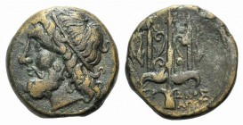 Sicily, Syracuse. Hieron II (274-216 BC). Æ (19mm, 6.23g, 11h), c. 263-218 BC. Head of Poseidon l., wearing tainia. R/ Ornamented trident head flanked...