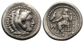 Kings of Macedon, Alexander III 'the Great' (336-323 BC). AR Drachm (17mm, 4.01g, 12h). Miletos, c. 325-3 BC. Head of Herakles r. wearing lion's skin....