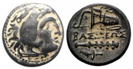 Kings of Macedon, Alexander III 'the Great' (336-323 BC). Æ (20mm, 5.49g, 3h). Uncertain mint in Western Asia Minor. Head of Herakles r., wearing lion...