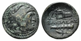 Kings of Macedon, Alexander III 'the Great' (336-323 BC). Æ (20mm, 5.91g, 3h). Uncertain mint in Western Asia Minor. Head of Herakles r., wearing lion...