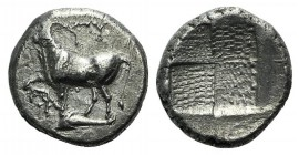 Thrace, Byzantion, c. 387/6-340 BC. AR Drachm (14mm, 3.43g). Bull standing l. on dolphin l.; monogram to lower l. R/ Quadripartite incuse square with ...