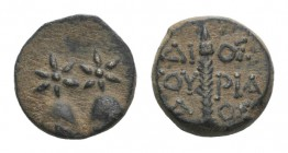 Kolchis, Dioskourias, c. 2nd-1st centuries BC. Æ (15.5mm, 4.35g, 12h). Piloi of the Dioskouroi surmounted by stars. R/ Thyrsos. SNG BM Black Sea 1021;...
