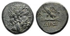 Bithynia, Dia, c. 85-65 BC. Æ (19mm, 9.36g, 12h). Laureate head of Zeus r. R/ Eagle standing l. on thunderbolt, head r.; monogram in l. field. SNG BM ...