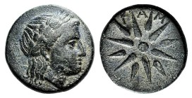 Mysia, Gambrion, after 350 BC. Æ (16mm, 4.02g). Laureate head of Apollo r. R/ Eight-rayed star. SNG BnF 908-21. Green patina, VF