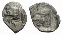 Mysia, Kyzikos, c. 450-400 BC. AR Obol (12mm, 0.80g, 9h). Forepart of boar l.; to r., tunny upward. R/ Head of lion l. within incuse square. Von Fritz...