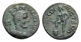 Troas, Alexandria. Pseudo-autonomous issue, c. mid 3rd century AD. Æ (22mm, 6.01g, 8h). Turreted and draped bust of Tyche r.; vexillum behind. R/ Apol...