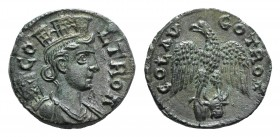 Troas, Alexandria. Pseudo-autonomous issue, c. mid 3rd century AD. Æ (20.5mm, 5.18g, 1h). COL TROA, Turreted and draped bust of Tyche r., with vexillu...