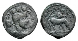 Troas, Alexandria. Pseudo-autonomous issue, c. mid 3rd century AD. Æ (23mm, 6.55g, 12h). Turreted and draped bust of Tyche r.; vexillum behind. R/ Hor...