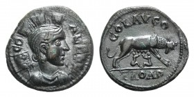 Troas, Alexandria. Pseudo-autonomous issue, c. mid 3rd century AD. Æ (23mm, 5.72g, 12h). Turreted and draped bust of Tyche r.; vexillum behind. R/ She...