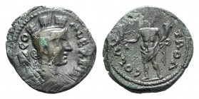 Troas, Alexandria. Pseudo-autonomous issue, c. mid 3rd century AD. Æ (22.5mm, 6.70g, 6h). CO ALEX TR, Turreted and draped bust of Tyche r., with vexil...