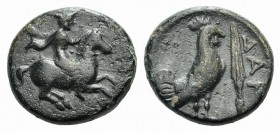 Troas, Dardanos, 4th century BC. Æ (12mm, 2.46g, 11h). Horseman riding r. R/ Cock standing r.; spearhead to r. SNG Copenhagen 294. Green patina, VF
