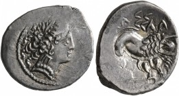 CELTIC, Southern Gaul. Insubres. Late 2nd-early 1st century BC. Drachm (Silver, 17 mm, 2.74 g, 3 h), imitating Massalia. Female head to right, wearing...