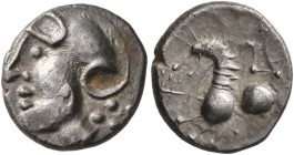 CELTIC, Central Gaul. Aedui. Circa 80-50 BC. Quinarius (Silver, 12 mm, 1.56 g, 6 h). Helmeted head to left. Rev. Celticized horse springing left; abov...