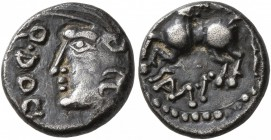 CELTIC, Central Gaul. Sequani. Mid 1st century BC. Quinarius (Silver, 12 mm, 1.82 g, 6 h), Q. Doci and Sam. F. (?). Q•DOC[I•] Celticized head of Roma ...
