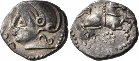 CELTIC, Central Gaul. Uncertain tribe. Mid 1st century BC. Quinarius (Silver, 14 mm, 1.64 g, 6 h), Santonos. [SANTON]OS Helmeted head to left. Rev. Ho...