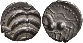 CELTIC, Central Europe. Helvetii. Mid 1st century BC. Quinarius (Silver, 13 mm, 1.57 g), 'Büschelquinar'. Palmette made from eight curved leaves conne...