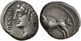 CELTIC, Central Europe. Rauraci. Circa 50-30 BC. Quinarius (Silver, 12 mm, 1.64 g, 9 h). NINNO Draped bust of youthful male to left, with wing in his ...