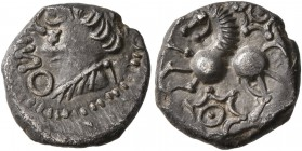 CELTIC, Central Europe. Rauraci. Circa 50-30 BC. Quinarius (Silver, 12 mm, 1.65 g, 10 h). [NI]NNO (retrograde) Draped bust of youthful male to left, w...