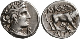 GAUL. Massalia. Circa 90-50 BC. Tetrobol (Silver, 14 mm, 2.82 g, 6 h). Draped bust of Artemis to right, wearing stephane, bow and quiver over shoulder...
