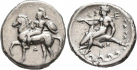 CALABRIA. Tarentum. Circa 344-340 BC. Didrachm or Nomos (Silver, 21 mm, 7.57 g, 2 h). Nude, helmeted rider on horseback left, holding spear and shield...