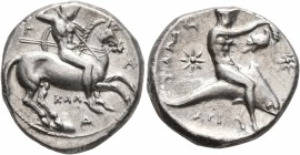 CALABRIA. Tarentum. Circa 333-331/0 BC. Didrachm or Nomos (Silver, 21 mm, 8.03 g, 4 h), Kal... and Ari..., magistrates. T - Λ / KAΛ / Δ Nude rider on ...