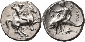 CALABRIA. Tarentum. Circa 315-302 BC. Didrachm or Nomos (Silver, 21 mm, 7.91 g, 9 h), Sa..., magistrate. Nude rider on horse galloping to right, stabb...