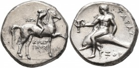 CALABRIA. Tarentum. Circa 302-280 BC. Didrachm or Nomos (Silver, 20 mm, 7.69 g, 7 h), Ago..., Kratinos and Xop..., magistrates. AΓΩ - KPAT/INOΣ Nude y...