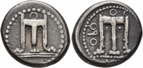 BRUTTIUM. Kroton. Circa 430-420 BC. Didrachm or Nomos (Silver, 19 mm, 7.92 g, 12 h). Tripod with three handles, ornamental volutes in the form of pell...