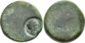SICILY. Akragas. Circa 400-380 BC. Hemilitron (Bronze, 26 mm, 18.81 g). Blank worn surface; countermark of youthful river god to right with [kerykeion...