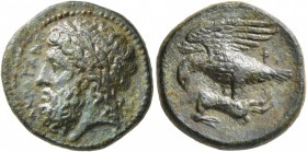 SICILY. Akragas. Phintias , tyrant, 287-279 BC. AE (Bronze, 17 mm, 4.36 g, 11 h). AKPAΓANT Laureate head of Zeus to left. Rev. ΦI Eagle, with wings sp...